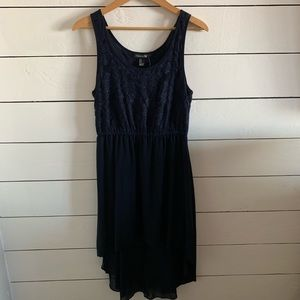 navy blue high low lace dress